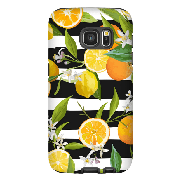 Striped Oranges and Lemons Galaxy S7 and S7 Edge Tough Case