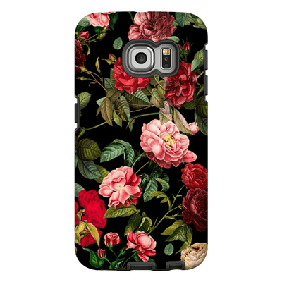 Red Floral Rose Bush Galaxy S6 Edge and S6 Edge Plus Tough Case