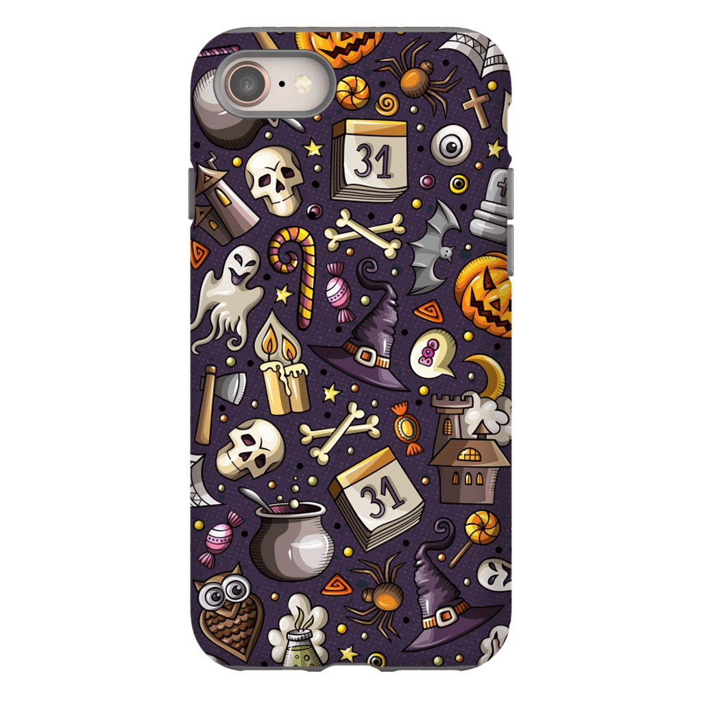 Skeleton and Ghosts Halloween iPhone 6-XS Max Tough Case - Purdycase
