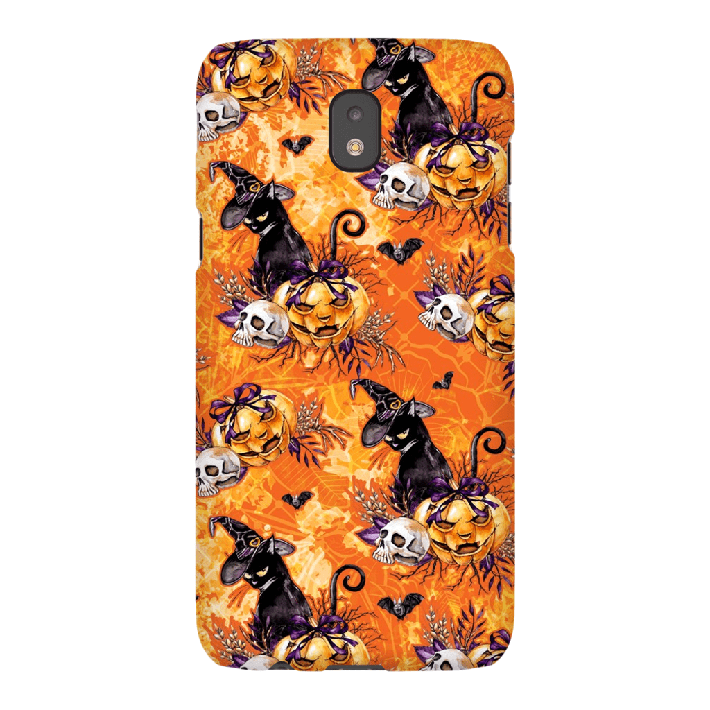 Orange Black Cat Pumpkin Medley Galaxy A3 - S10 Series Tough Case - Purdycase