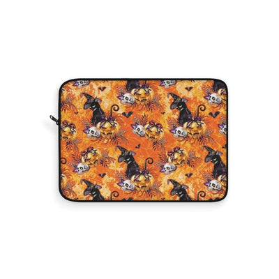 Orange Black Cat Pumpkin Laptop Sleeve