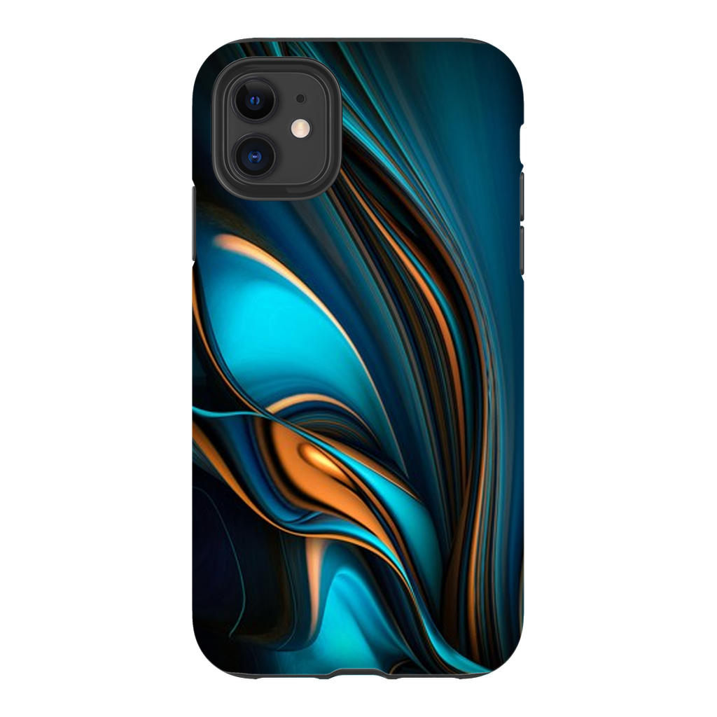 Blue Gold Ribbon Abstract iPhone 11 Series - Purdycase