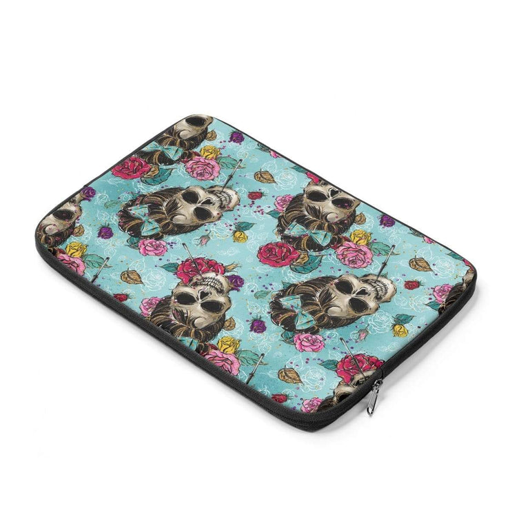 Rockabilly Blue Skulls Laptop Sleeve - Purdycase