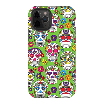 Pink Lime Skulls iPhone 11 Series Tough Case