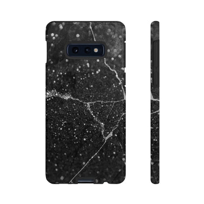 Cracked Black Marble Galaxy 10 Series Tough Case