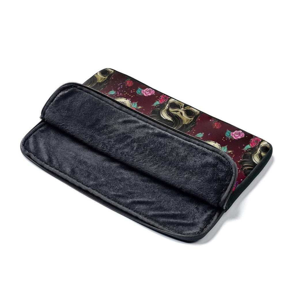 Rockabilly Burgundy Skulls Laptop Sleeve - Purdycase