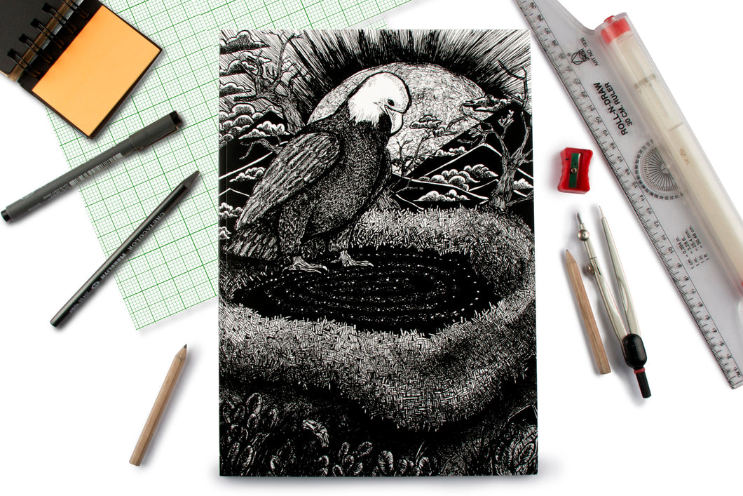 Nesting Eagle Doodle Graph Notebook