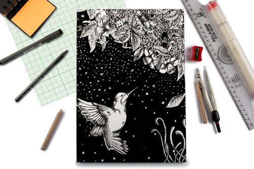 Humming Bird Doodle Graph Notebook
