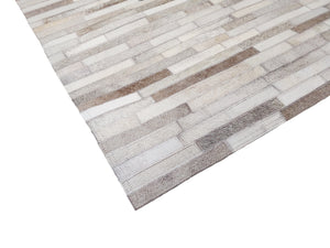 Striped Silver Leather Rug - 6' x 9'
