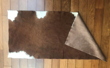 "Load image into Gallery viewer, Natural Cowhide Throw Mocha & Ivory 2' 4"" X 5'"