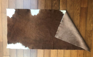"Natural Cowhide Throw Mocha & Ivory 2' 4"" X 5'"