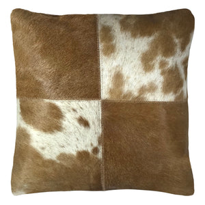 "Genuine Cowhide Pillow 16""x16"" Mocha & Ivory"
