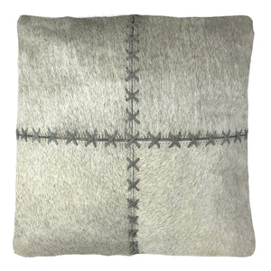 "Genuine Cowhide Pillow 16""x16"" Silver"
