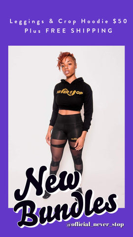 Mesh Leggings and Crop Top Hoodie Bundle