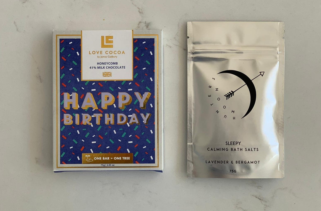 Happy Birthday  - Sleepy bath salts & Happy Birthday chocolate