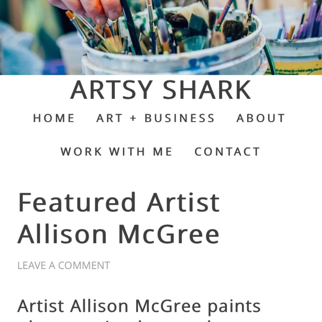 Artsy Shark Featured Artist Article and new work this week.