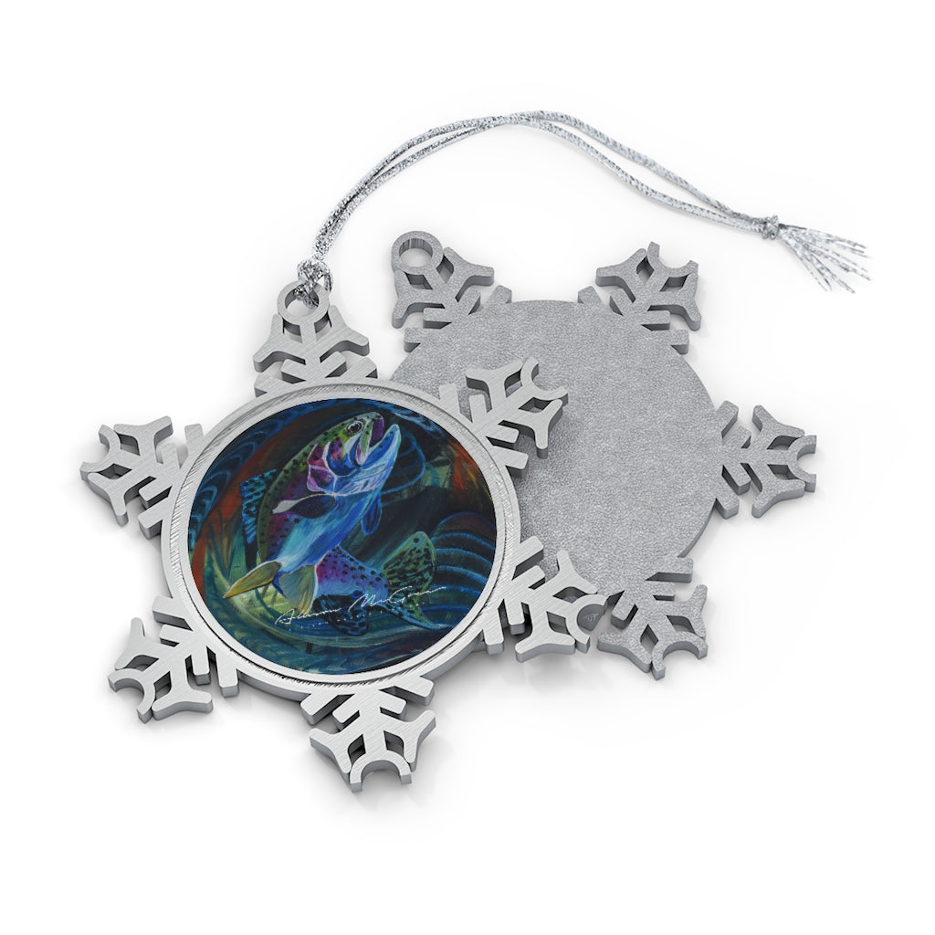 Jumping Trout: Pewter Snowflake Ornament