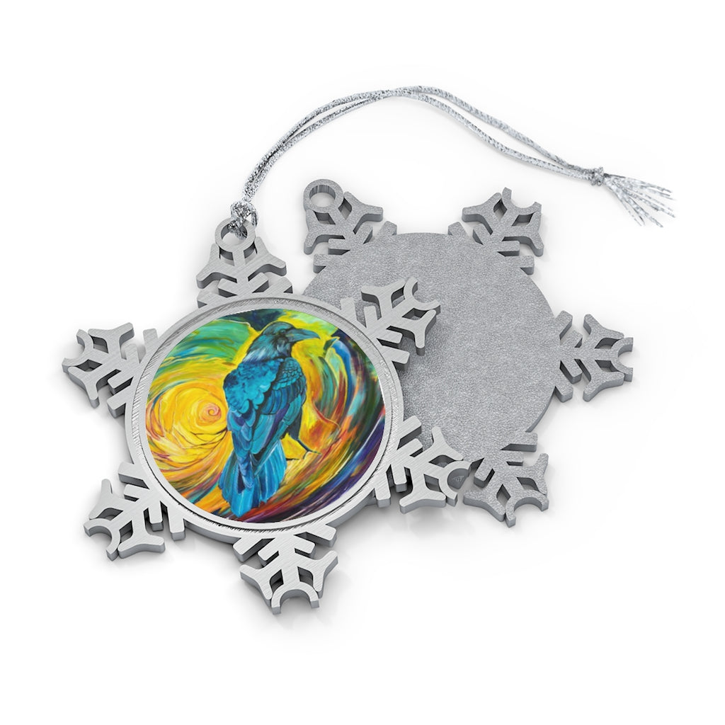 Odin's Messenger: Pewter Snowflake Ornament