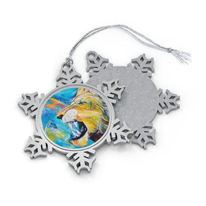 Covid-19 Lion: Pewter Snowflake Ornament
