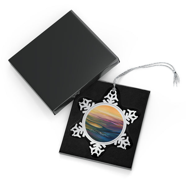 Lake Sunset: Pewter Snowflake Ornament