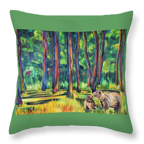 Bears in the Forest - Throw Pillow