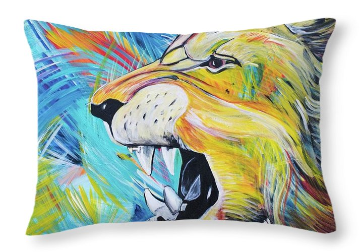 Covid 19 Lion Throw Pillow Allison Mcgree Fine Art