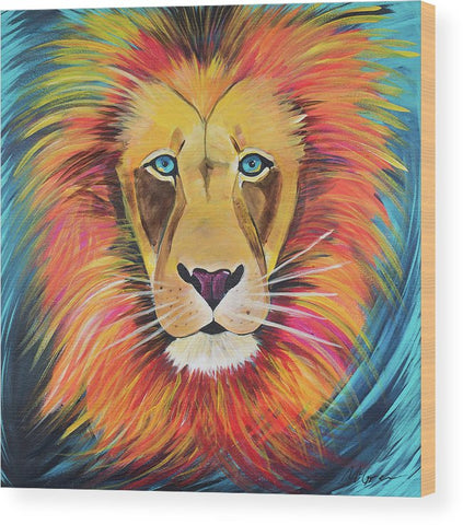 Fierce Lion - Wood Print