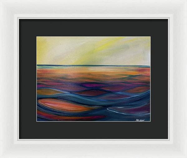 Montana Lake Sunset - Framed Print