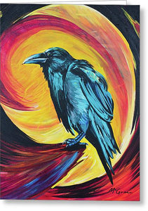 Raven in Wait - Greeting Card