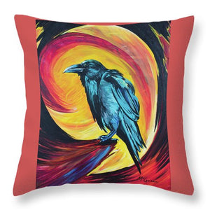 Raven in Wait - Throw Pillow