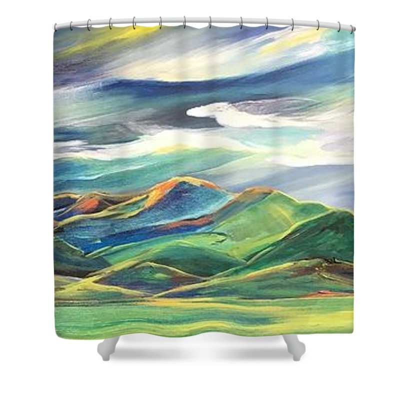 Sun Dancing on the Bridgers - Shower Curtain