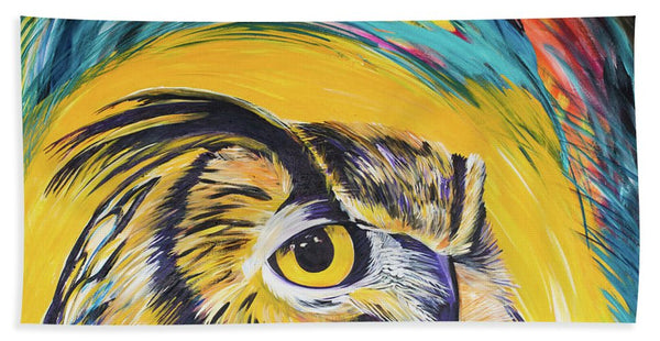 Watchful Owl - Beach Towel