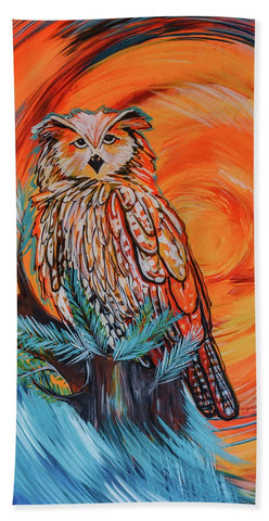 Wise Old Owl - Beach Towel