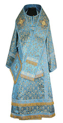 Blue Brocade Bishop Vestment