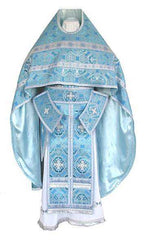 Blue Brocade Priest Vestment