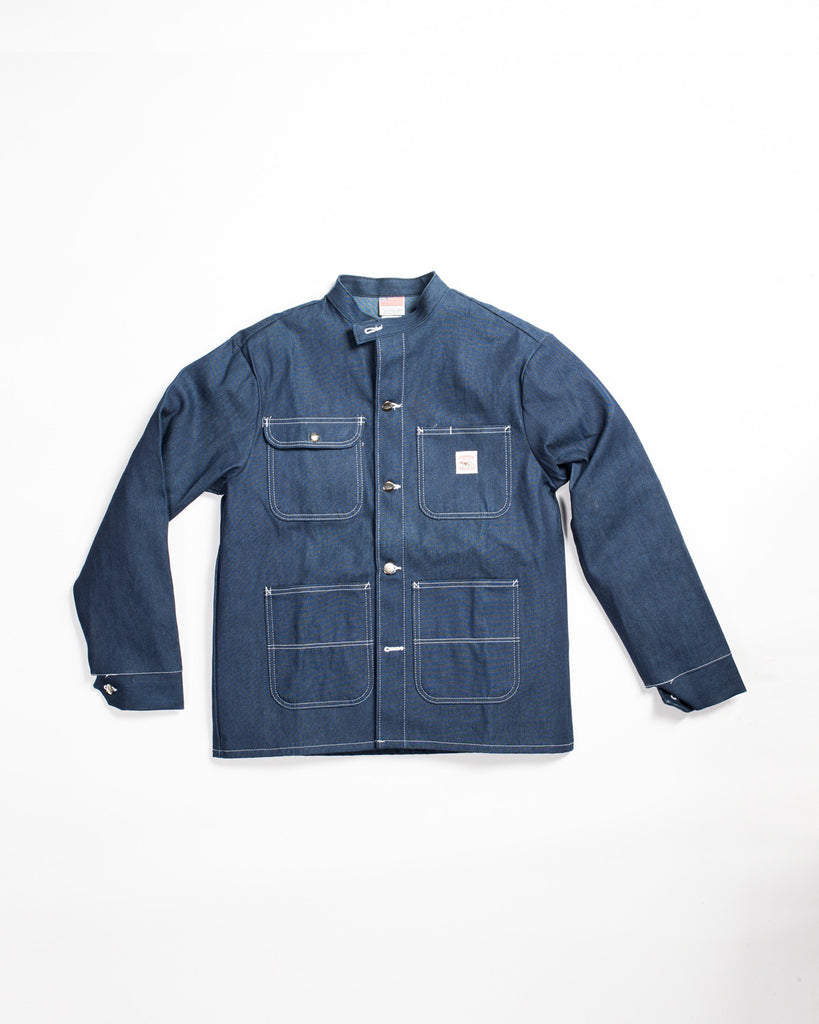 Pointer Brand Special Make Banded Collar Jacket Indigo Blue Denim