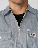 Ben Davis Long Sleeve Hickory Stripe Shirt - Zipper Front