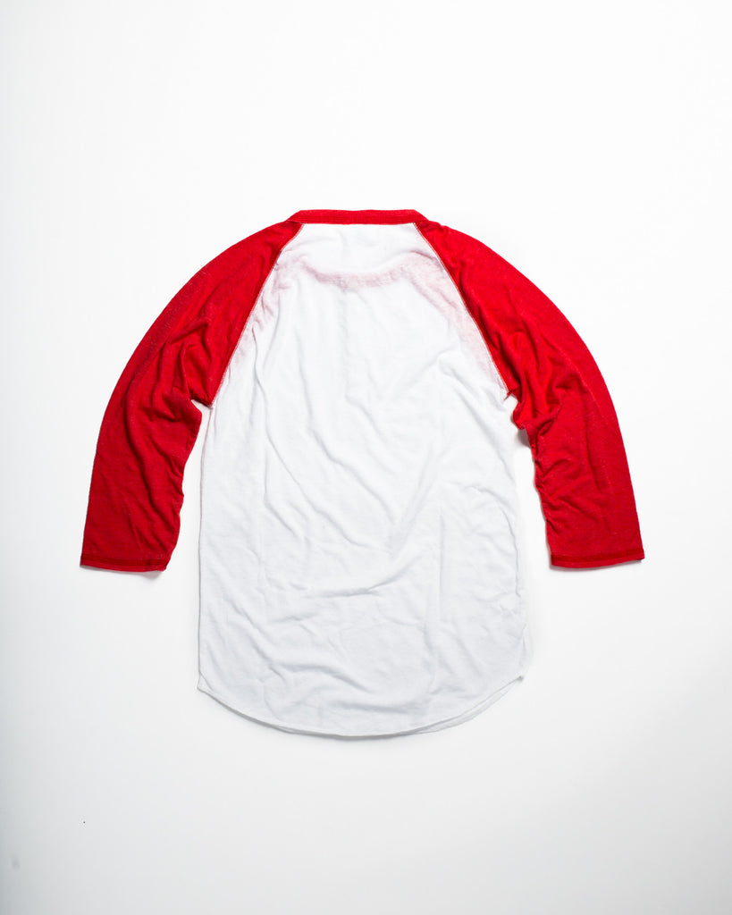 Tri-Blend Basic Raglan Henley Red