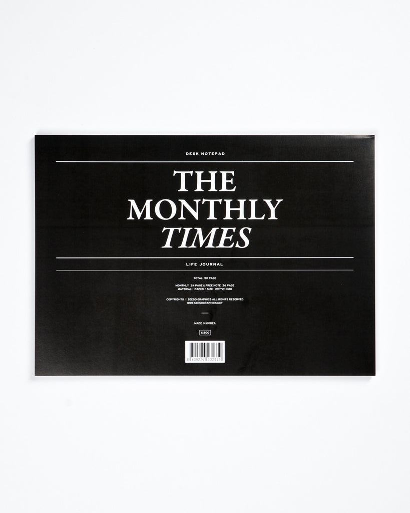 Times Desk Notepad Monthly