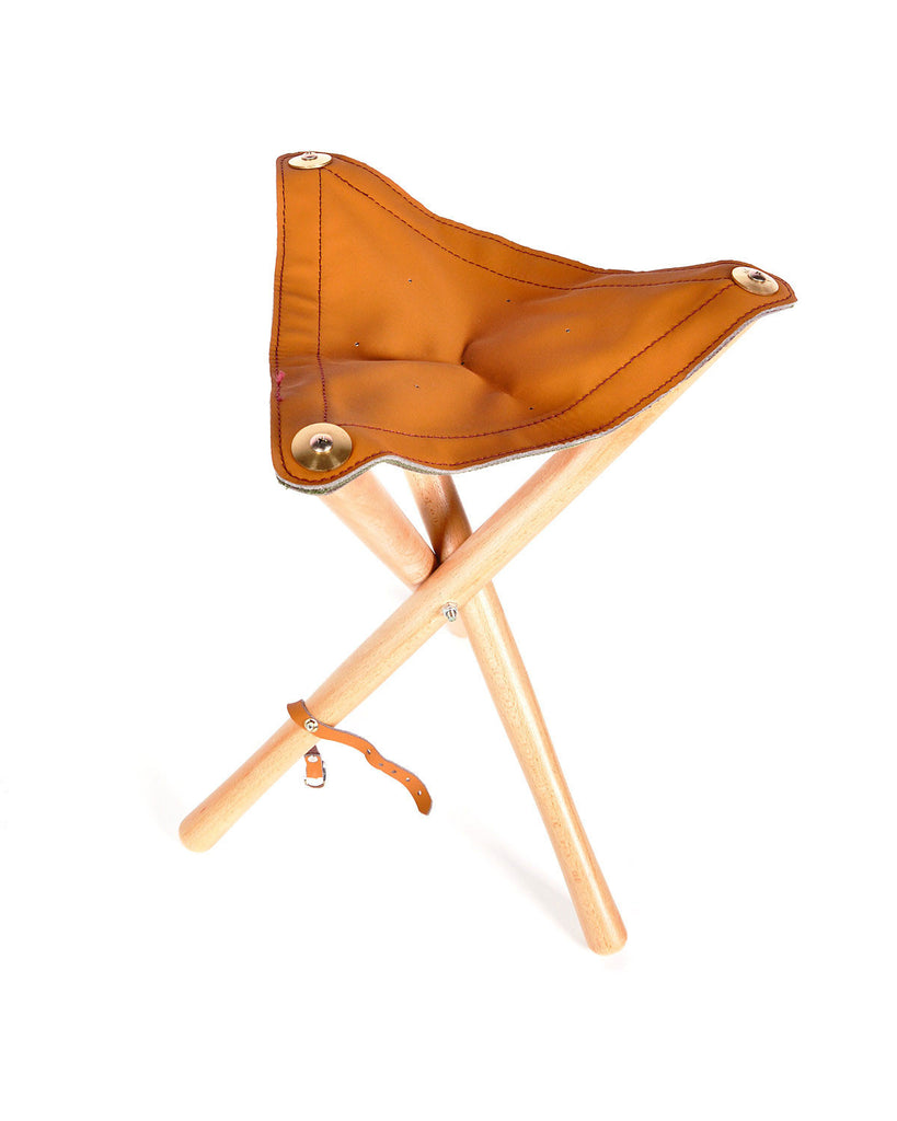 Leather Seat Wood Stool