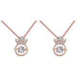 (2 Pack) Heart Crown Necklace