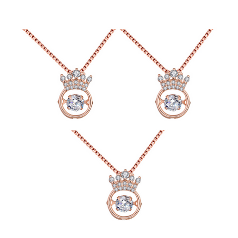 (3 Pack) Heart Crown Necklace