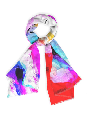 """Red Abstract 2"" Botanical Cashmere Scarf by Lady Barbara Pinson Artist"