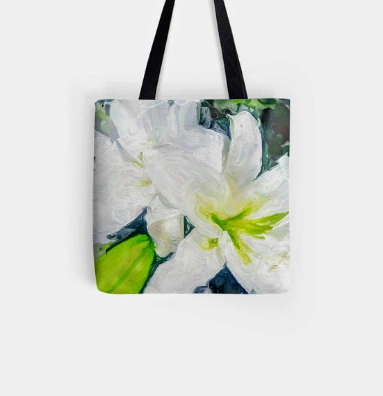 """Bella Lillies "" Tote by Lady Barbara Pinson Artist"