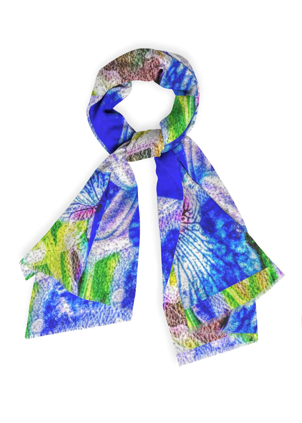 """Blue Iris"" - 28""x 80"" Botanical Cashmere Scarf Luxury Collection"