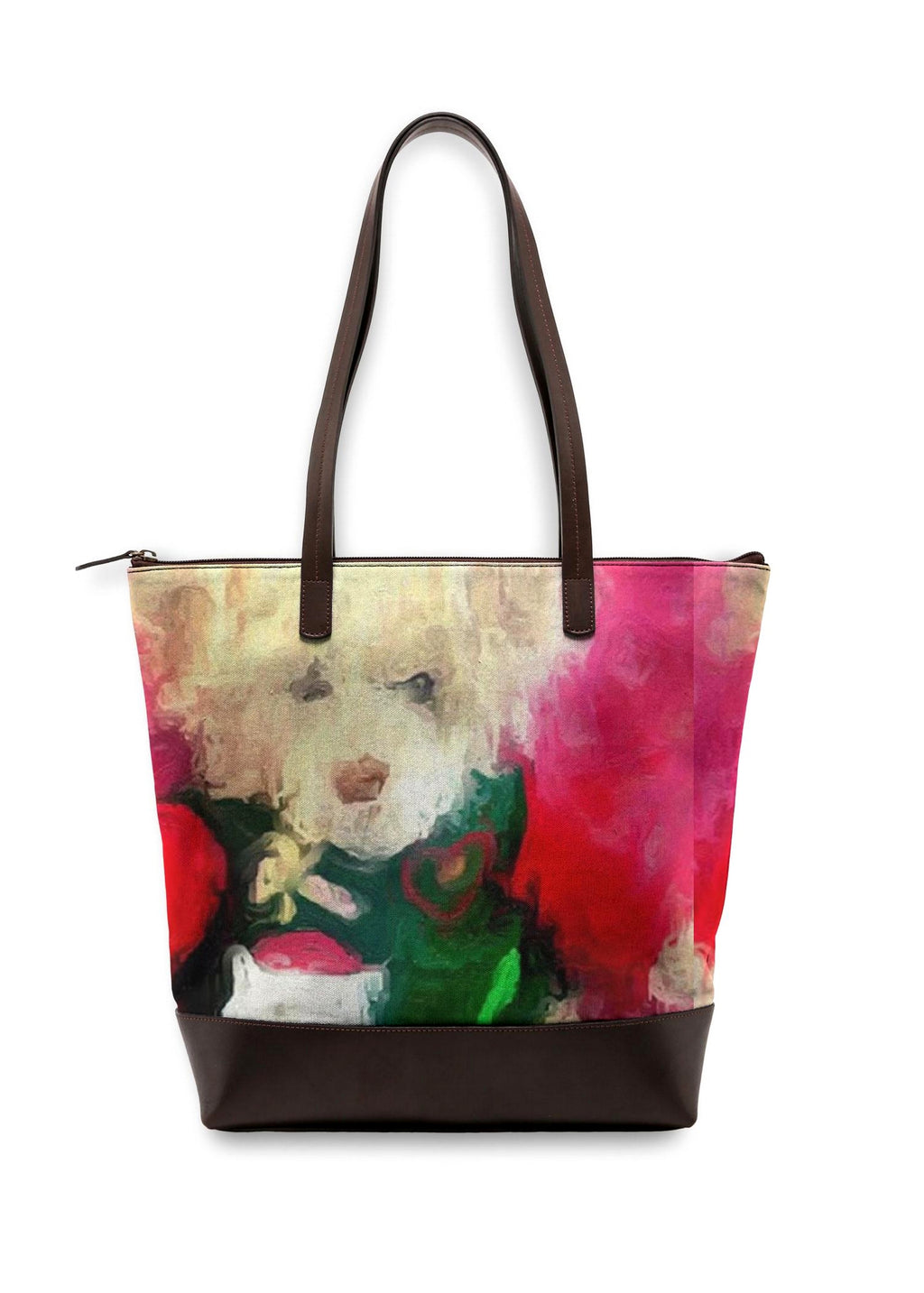 """Christmas Teddy""  Luxury Statement Bag Lady Barbara Pinson Artist"