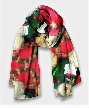 """Christmas Teddy "" Cashmere/Silk Scarf by Lady Barbara Pinson Artist"