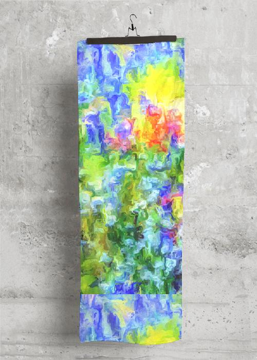 """Fields of Glory"" - 28 ""x 80"" Botanical  Cashmere  Scarf"