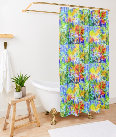 "Shower Curtain ""Field of Glory"" Lady Barbara Pinson Artist Home Collection"