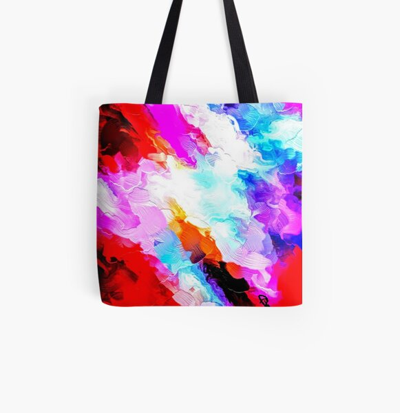 """Red Abstract 2"" Tote by Lady Barbara Pinson Artist"